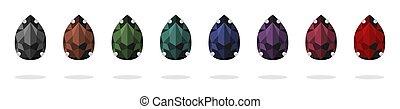 jewelry., セット, caps., ハンドメイド, ラインストーン, 隔離された, ベクトル, needlework., images., 材料