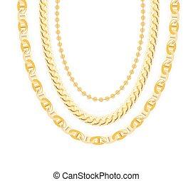 jewelry., ベクトル, 金の 鎖, illustration.