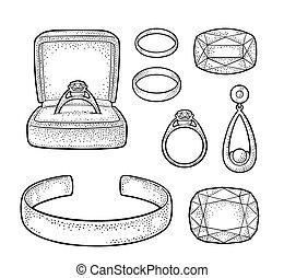 jewelry., 彫版, セット, 色, 型, イラスト, ベクトル