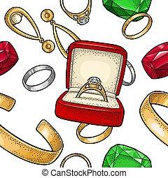jewelry., 彫版, 色, パターン, seamless, イラスト, ベクトル, 型