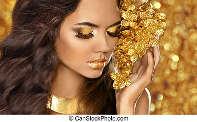 jewelry., 황금, 눈, 유행, 아름다움, attra, makeup., portrait., 소녀