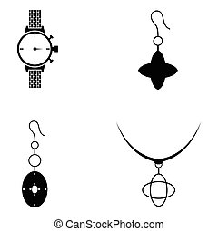Jewelry and accessories  icon set