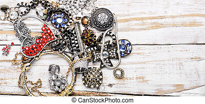 Mix of beautiful jewellery. Collection of bijouterie. Fashion jewels