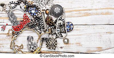 Jewelry and bijouterie. - Mix of beautiful jewellery. ...