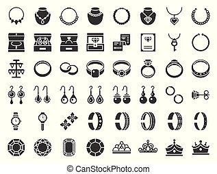 jewelry and diamond related icon, glyph style.