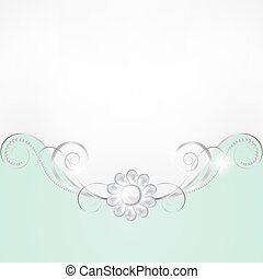 Jewelry and lace - Jewelry border on green background....