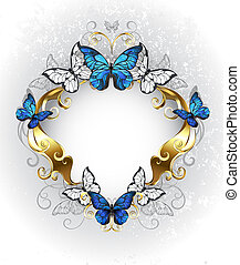 Jewelry banner with blue butterflies morpho - Jewelry, gold,...
