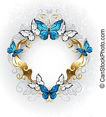 Jewelry banner with blue butterflies morpho