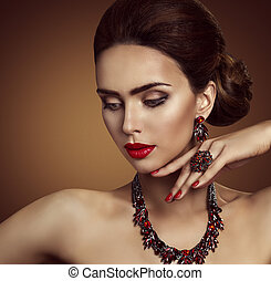Jewelry, Beauty Fashion Model Face and Jewellery, Red Ring Necklace Earrings, Elegant Woman Makeup