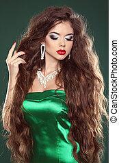 jewelry., bello, moda, marrone, sano, lungo, girl., brunetta, hair., woman.