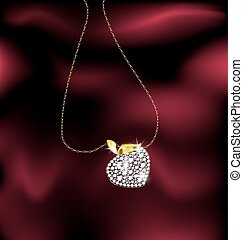 red background and a jewelry chains with pendant berry