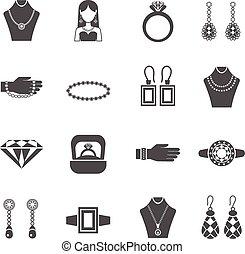Jewelry Black White Icons Set - Jewelry black white icons...