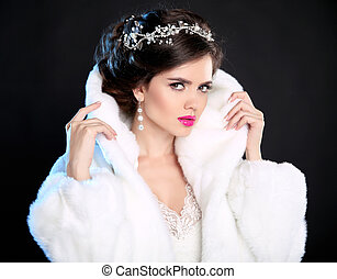 jewelry., bonito, moda, pele, hairstyle., agasalho, isolado, escuro, experiência., mulher, portrait., luxo, menina, modelo, inverno