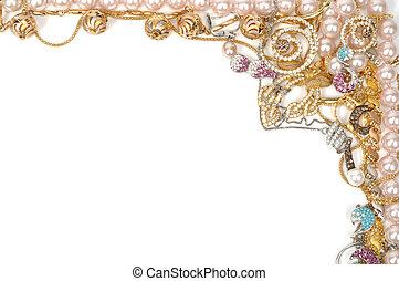 Jewelry border - Fashion jewelry framework, isolated on...