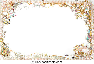Jewelry border - Fashion jewelry framework, isolated on ...