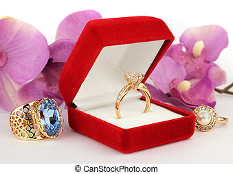 jewelry box with ring, flower background