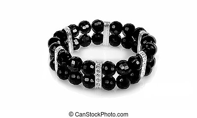jewelry bracelet - black bracelet isolated on white...