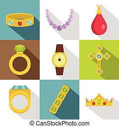 Jewelry collection icon set, flat style