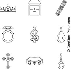 Jewelry collection icon set, outline style