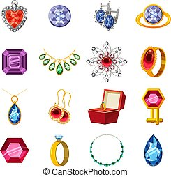 Jewelry collection icons set, cartoon style