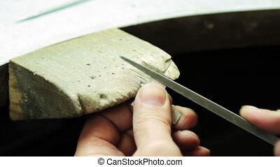 jewelry., crée, vide, goldsmith, morceau, argent
