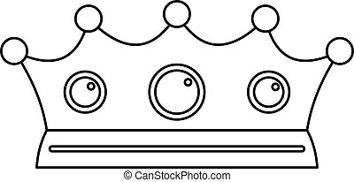 Jewelry crown icon, outline style