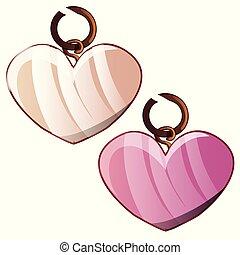 jewelry., cuore, illustration., isolato, pendenti, due, fondo., forma, vettore, bianco