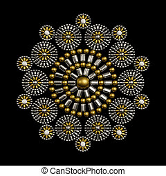 Jewelry decoration design made from metallic seed beads isolated on black background. Beautiful jewelry design
