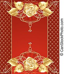 jewelry design with a gold rose