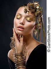 jewelry., dourado, moda, maquilagem, retrato, modelo