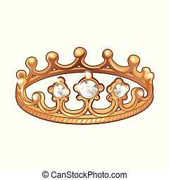 jewelry., esclusivo, intarsiato, fatto, illustration., oro, fondo., primo piano, reale, boutique, corona, isolato, cartone animato, istanza, forma, vettore, diamanti, anello, bianco