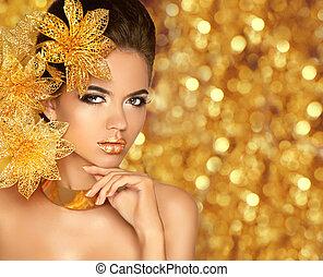 jewelry., fason, piękno, portra, makijaż, blask, luksus, dziewczyna, wzór