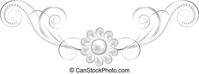 jewelry floral frame - Silver jewelry floral border isolated...