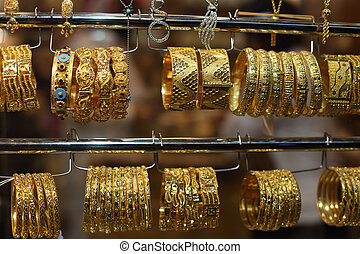 Jewelry for sale in the Gold Souq of Doha, Qatar