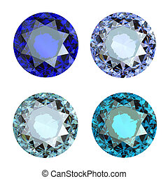 Jewelry gems roung shape on white background.Tanzanite. Sapphire