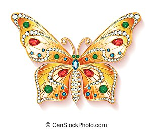 Jewelry gold butterfly in gems. Beautiful decoration....