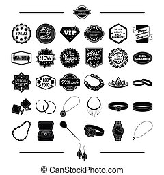 jewelry, gold, products and other web icon in black style. cross, silver, Pendant, icons in set collection.
