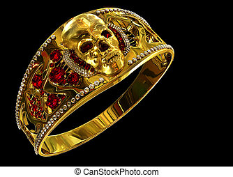 Jewelry gold skull ring with diamond and red ruby gems....
