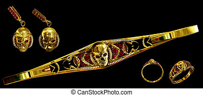 Jewelry gold skull set with diamond and red ruby gems.