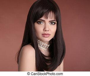 jewelry., gouden, stijl, brunette, hairstyle., beauty, bruine , gezonde , vrijstaand, makeup., haar, achtergrond., mode, studio, vrouwlijk, sexy, portrait., meisje, mooi