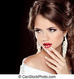 jewelry., haut., femme, hairstyle., mode, faire, isolé, élégant, noir, luxe, fond, portrait, girl