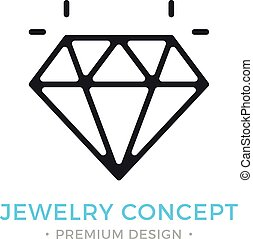 Jewelry icon. Outline gem logo. Jewellery, brilliant, emerald, shiny diamond concepts. Premium quality. Modern vector thin line icon