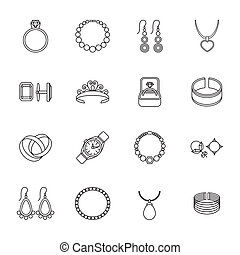 Jewelry outline icons set of bracelet ring necklace isolated vector illustration