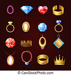 Jewelry icon set
