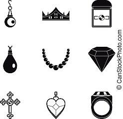 Jewelry icon set, simple style