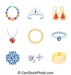 Jewelry Icons Flat - Jewelry flat icons set of necklace ...