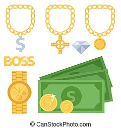 Jewelry icons gold vector gemstones precious accessories fashion money illustration beauty pendant symbol necklace accessory.