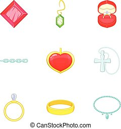 Jewelry icons set, cartoon style