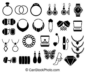 Jewelry icons set for your site, isolated on white