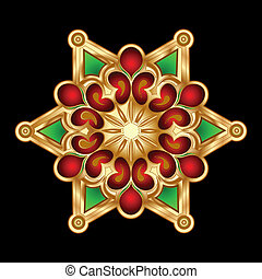 jewelry., illustration., or, noël, vecteur, vert, flocon de neige, rouges